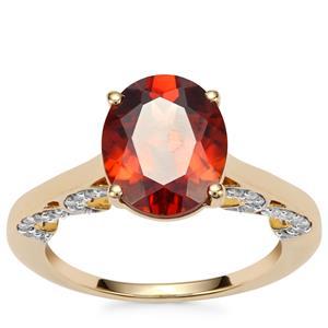Zanzibar Sunburst Zircon Ring with Diamond in 18K Gold 4.62cts