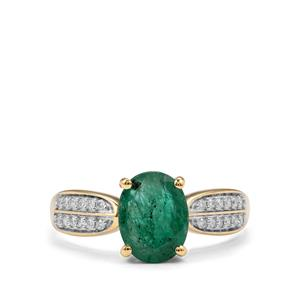 Minas Gerais Emerald & Diamond 18K Gold Tomas Rae Ring MTGW 1.58cts