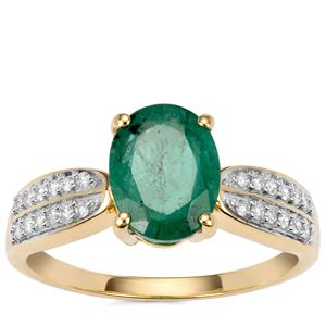 Minas Gerais Emerald Ring with Diamond in 18K Gold 1.58cts