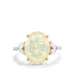 Ethiopian Opal Ring with White Zircon in 9K Gold 3.45cts