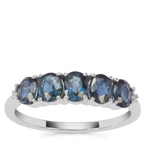 Natural Nigerian Blue Sapphire Ring with White Zircon in 9K White Gold 1.64cts