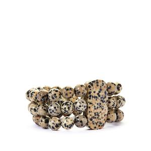 456ct Dalmatian Jasper Stretchable Bracelet