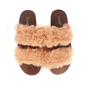 Destello Fluffy Open Toe Two Strap Slippers - Fawn Colour - Available in S/M/L