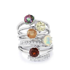 4.41ct Exotic Gems Sterling Silver Set of 6 Rings
