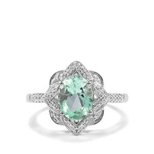 Colombian Emerald Ring with Diamond in 18K White Gold 2.10cts