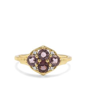 Burmese Purple Spinel & White Zircon 9K Gold Ring ATGW 1.33cts