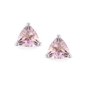 1.27ct Rose De France Amethyst Sterling Silver Earrings