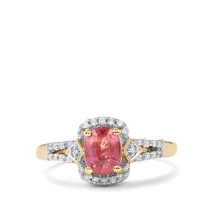 Padparadscha Sapphire Ring with Diamond in 18K Gold 1.37cts