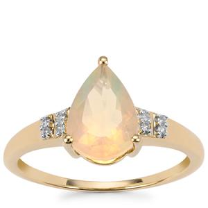 Ethiopian Opal Ring with Diamond in 9K Gold 1.13cts