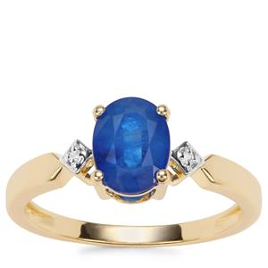 Santorinite™ Blue Spinel Ring with Diamond in 9K Gold 1.34cts