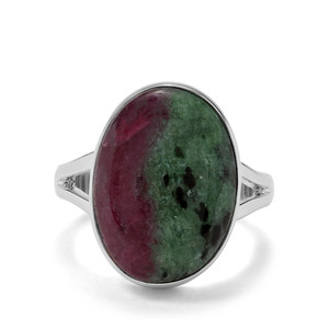 12.60ct Ruby-Zoisite Sterling Silver Indus Valley Ring