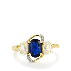 Sundar Kyanite, White Zircon & Diamond 9K Gold Ring ATGW 3.33cts