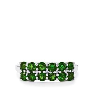 Chrome Diopside Ring with Diamond in Sterling Silver 1.72cts