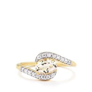 Goshenite & White Zircon 9K Gold Ring ATGW 1.05cts
