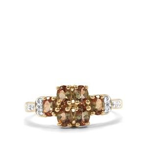 Sopa Andalusite & Diamond 9K Gold Ring ATGW 1.05cts