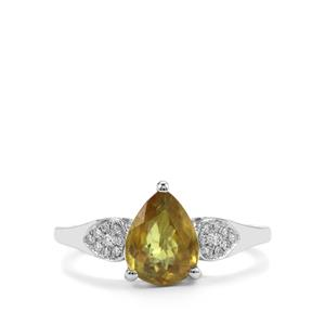 Ambilobe Sphene Ring with Diamond in 18K White Gold 1.73cts