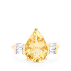 Serenite & White Zircon 9K Gold Ring ATGW 3.77cts