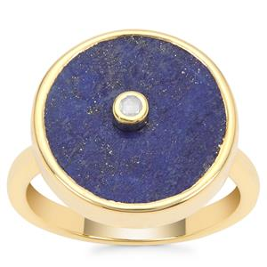 Sar-i-Sang Lapis Lazuli Ring with Diamond in Gold Plated Sterling Silver 8.55cts