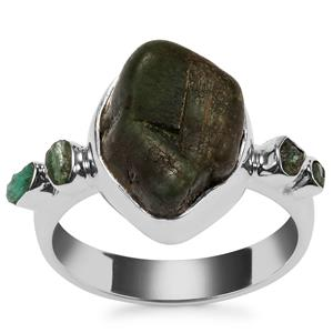 Zambian Emerald Ring in Sterling Silver 7.37cts