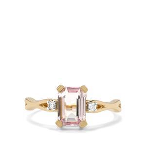 Mawi Kunzite & White Zircon 9K Gold Ring ATGW 1.47cts