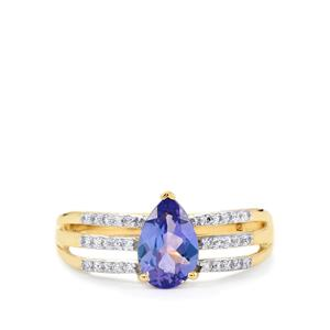 AA Tanzanite Ring with Diamond in 14k Gold 1.19cts