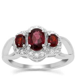 Tocantin, Rajasthan Garnet Ring with White Zircon in Sterling Silver 1.62cts