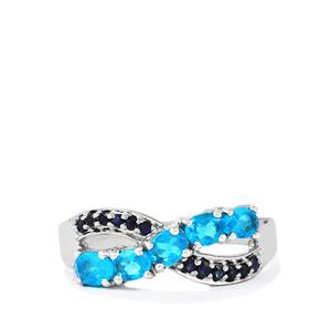 Neon Apatite Ring with Blue Sapphire in Platinum Plated Sterling Silver 1.04ct