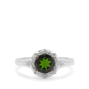 Chrome Diopside & White Zircon Sterling Silver Ring ATGW 1.18cts