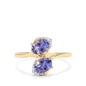 AA Tanzanite & Diamond 9K Gold Ring ATGW 1.22cts