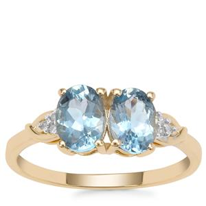 Nigerian Aquamarine Ring with Diamond in 9K Gold 1.32cts