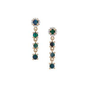 Crystal Opal on Ironstone & White Zircon 9K Gold Earrings