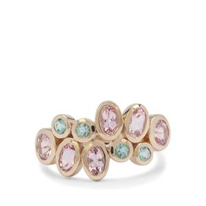Aquaiba™ Beryl Ring with Cherry Blossom Morganite in 9K Gold 1.75cts