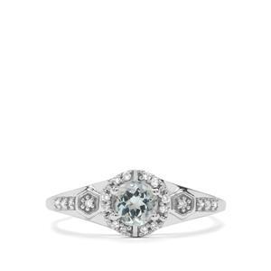Aquaiba Beryl & Diamond 9K White Gold Ring ATGW 0.52cts