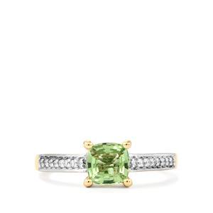 Tsavorite Garnet & Diamond 18K Gold Tomas Rae Ring MTGW 1.08cts