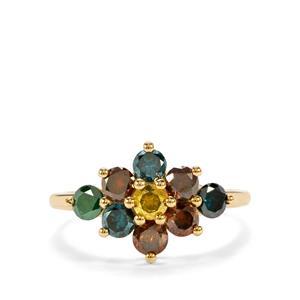 1.45ct Multi-Colour Diamond 9K Gold Tomas Rae Ring