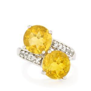 Golden Fluorite & White Topaz Sterling Silver Ring ATGW 9.05cts