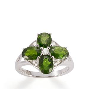 Chrome Diopside Ring with White Topaz in Sterling Silver 3.30cts