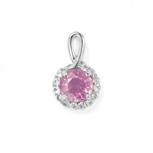 Ilakaka Hot Pink Sapphire & White Topaz Sterling Silver Pendant ATGW 1.42cts (F)