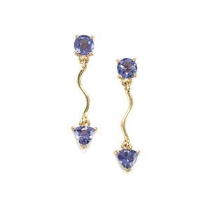 AA Tanzanite Earrings in 10K Gold 1.37cts