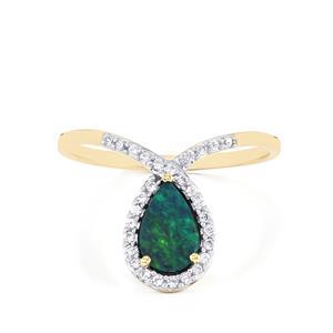 Crystal Opal on Ironstone & White Zircon 10K Gold Ring