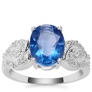 Colour Change Fluorite Ring with White Zircon in Sterling Silver 3.12cts