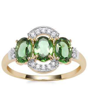 Chrome Tourmaline Ring with White Zircon in 9K Gold 1.51cts