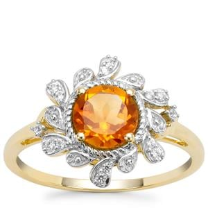 Madeira Citrine Ring with White Zircon in 9K Gold 0.94ct