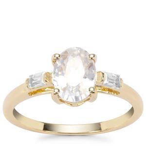 Singida Tanzanian Zircon Ring with White Zircon in 9K Gold 2.21cts