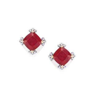 Malagasy Ruby Earrings with White Zircon in 10K Gold 6.88cts (F)