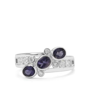 Bengal Iolite & white Zircon Sterling Silver Ring ATGW 1cts