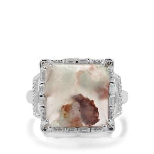 Aquaprase™ & White Zircon Sterling Silver Ring ATGW 8.04cts