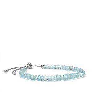 22.50ct Mozambique Aquamarine Sterling Silver Slider Graduated Bead Bracelet