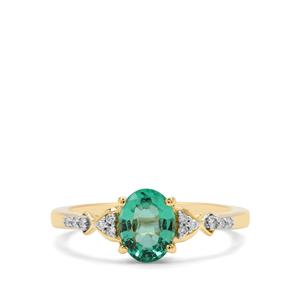 Ethiopian Emerald Ring with Diamond in 18K Gold 1.06cts