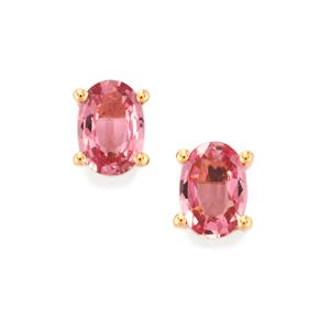 Sakaraha Pink Sapphire Earrings in 9K Rose Gold 1ct